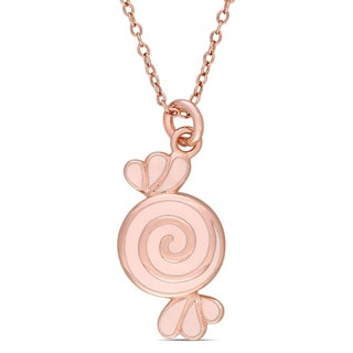 Miadora Rose Plated Sterling Silver Children's Enamel Swirl Candy Pendant with Chain
