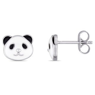 Miadora Sterling Silver Children's Black and White Enamel Panda Stud Earrings