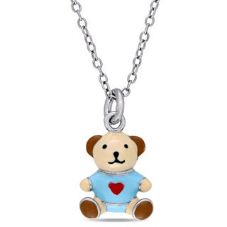 Miadora Sterling Silver Children's Multi-color Enamel Teddy Bear Pendant with Chain