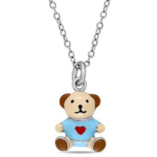 Miadora Sterling Silver Children's Multi-color Enamel Teddy Bear Pendant with Chain https://ak1.ostkcdn.com/images/products/13767564/P20421401.jpg?impolicy=medium