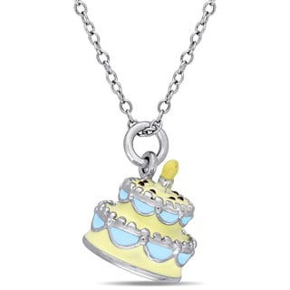 Miadora Sterling Silver Children's Yellow and Blue Enamel Birthday Cake Pendant with Chain