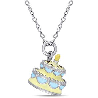Miadora Sterling Silver Children's Yellow and Blue Enamel Birthday Cake Pendant with Chain https://ak1.ostkcdn.com/images/products/13767567/P20421402.jpg?impolicy=medium