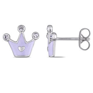 Miadora Sterling Silver Children's White Enamel and White Topaz Crown Stud Earrings
