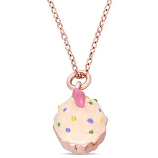 Miadora Rose Plated Sterling Silver Children's Multi-Color Enamel Cupcake Pendant with Chain