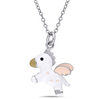 Miadora Sterling Silver Children's Pink and White Enamel Flying Horse Pendant with Chain