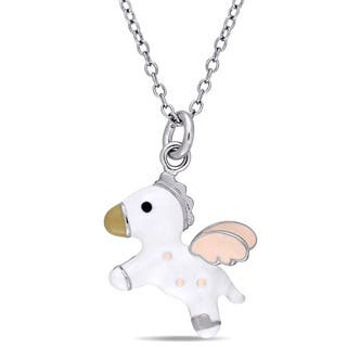 Miadora Sterling Silver Children's Pink and White Enamel Flying Horse Pendant with Chain https://ak1.ostkcdn.com/images/products/13767590/P20421405.jpg?impolicy=medium