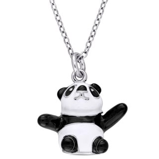 Miadora Sterling Silver Children's Black and White Enamel Panda Bear Pendant with Chain