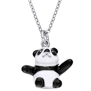 Miadora Sterling Silver Children's Black and White Enamel Panda Bear Pendant with Chain https://ak1.ostkcdn.com/images/products/13767591/P20421406.jpg?impolicy=medium