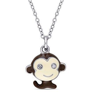 Miadora Sterling Silver Children's Black and White Enamel with White Topaz Baby Monkey Pendant with Chain