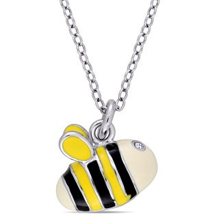 Miadora Sterling Silver Children's Black White and Yellow Enamel with White Topaz Honeybee Pendant with Chain