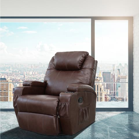 Lucia Dark Brown Faux Leather Heated Vibrating Massage Recliner