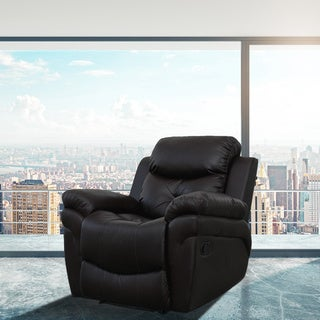 Parker Black Faux Leather Heated Vibrating Massage Recliner