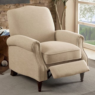 Furniture of America Vargo Beige Linen Push Back Recliner Chair