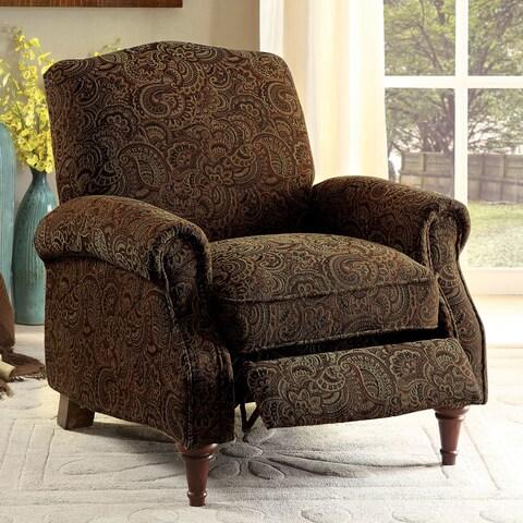 Furniture of America Vargo Paisley Brown Push Back Recliner Chair