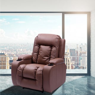 Teagan Brown Faux Leather Heated Vibrating Massage Recliner