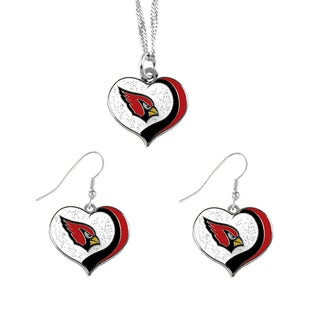 NFL Arizona Cardinals Sports Team Logo Glitter Heart Necklace and Earring Set Charm Gift