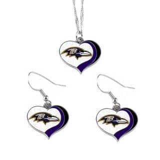NFL Baltimore Ravens Sports Team Logo Glitter Heart Necklace and Earring Set Charm Gift|https://ak1.ostkcdn.com/images/products/13767780/P20421624.jpg?impolicy=medium