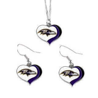 NFL Baltimore Ravens Sports Team Logo Glitter Heart Necklace and Earring Set Charm Gift