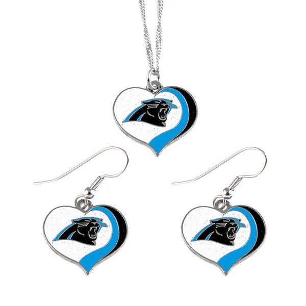 NFL Carolina Panthers Sports Team Logo  Glitter Heart Necklace and Earring Set Charm Gift