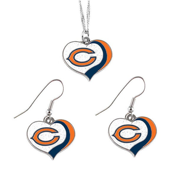 NFL Chicago Bears Sports Team Logo Glitter Heart Necklace and Earring Set Charm Gift