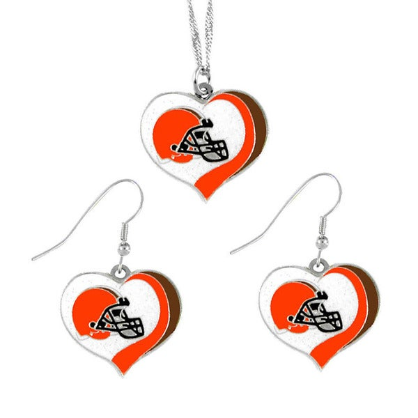 NFL Cleveland Browns Sports Team Logo  Glitter Heart Necklace and Earring Set Charm Gift