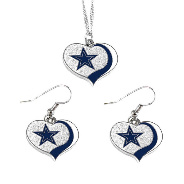 NFL Dallas Cowboys Sports Team Logo  Glitter Heart Necklace and Earring Set Charm Gift