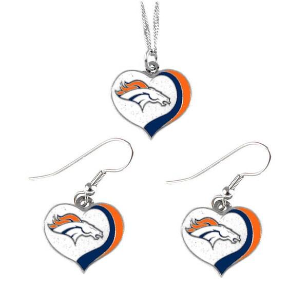 NFL Denver Broncos Sports Team Logo Glitter Heart Necklace and Earring Set Charm Gift