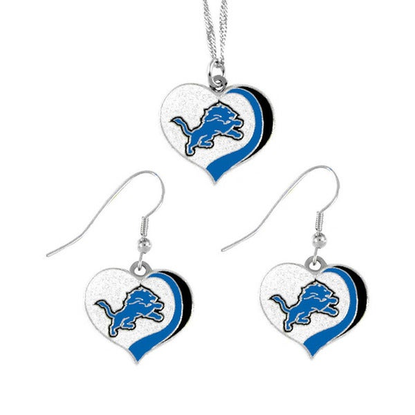 NFL Detroit Lions Sports Team Logo  Glitter Heart Necklace and Earring Set Charm Gift