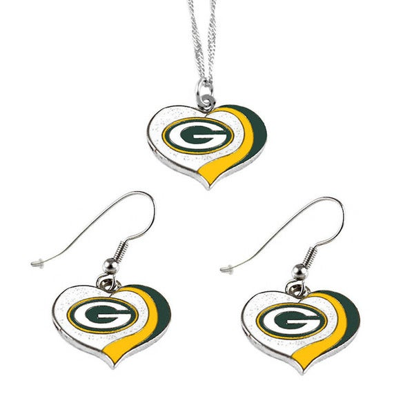 NFL Green Bay Packers Sports Team Logo  Glitter Heart Necklace and Earring Set Charm Gift