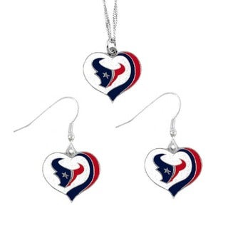 NFL Houston Texans Sports Team Logo  Glitter Heart Necklace and Earring Set Charm Gift