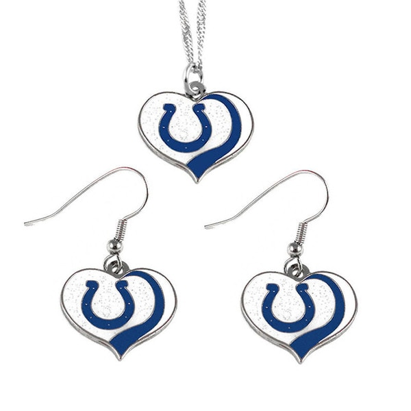 NFL Indianapolis Colts Sports Team Logo Glitter Heart Necklace and Earring Set Charm Gift