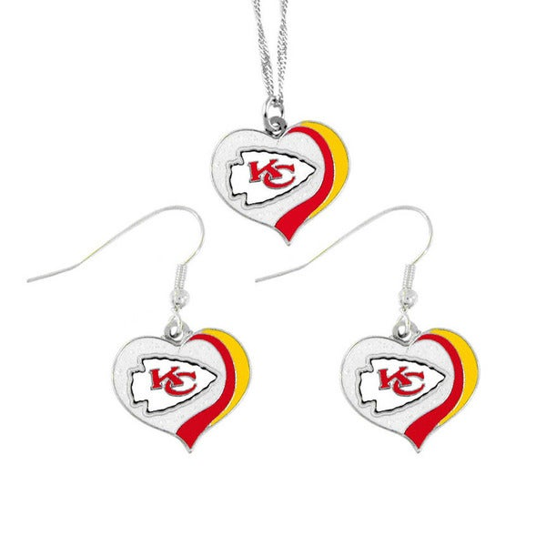 NFL Kansas City Chiefs Sports Team Logo Glitter Heart Necklace and Earring Set Charm Gift