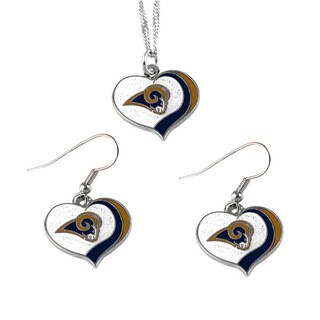 NFL Los Angeles Rams Sports Team Logo Glitter Heart Necklace and Earring Set Charm Gift