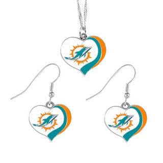 NFL Miami Dolphins Sports Team Logo  Glitter Heart Necklace and Earring Set Charm Gift