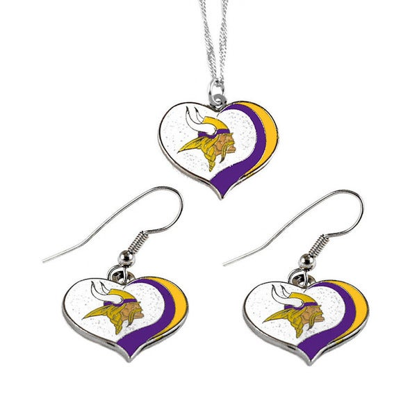 NFL Minnesota Vikings Sports Team Logo Glitter Heart Necklace and Earring Set Charm Gift