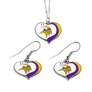NFL Minnesota Vikings Sports Team Logo Glitter Heart Necklace and Earring Set Charm Gift