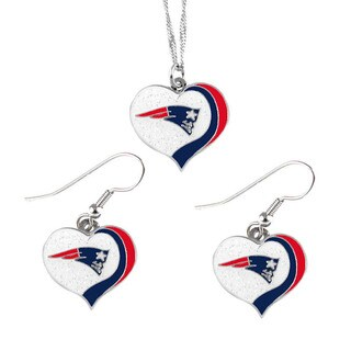 NFL New England Patriots Sports Team Logo Glitter Heart Necklace and Earring Set Charm Gift