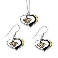 Nfl New Orleans Saints Sports Team Logo Glitter Heart Necklace And Earring Set Charm Gift