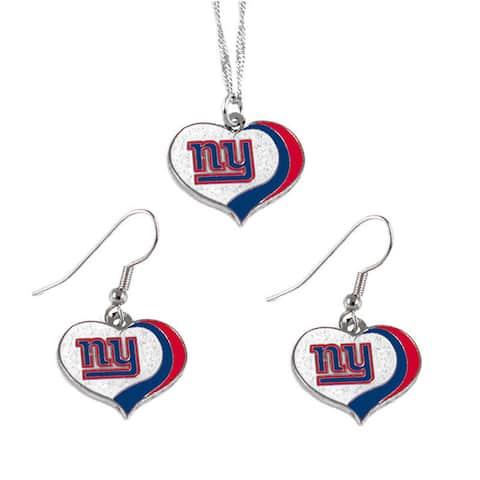NFL New York Giants Sports Team Logo Glitter Heart Necklace and Earring Set Charm Gift