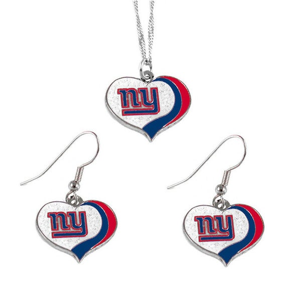 NFL New York Giants Sports Team Logo  Glitter Heart Necklace and Earring Set Charm Gift