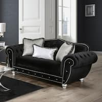 Furniture of America Renee Formal Premium Black Tufted Velvet Loveseat