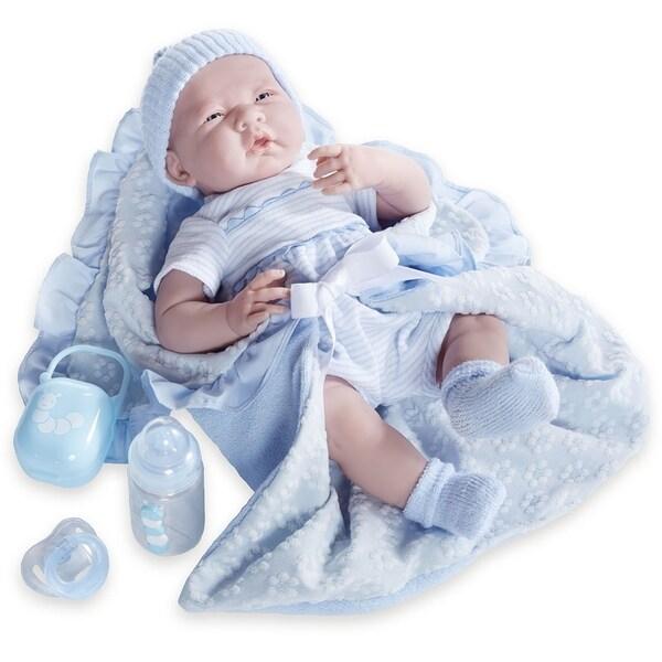 JC Toys Blue Fabric 15.5-inch Realistic Baby Boy Doll