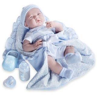 JC Toys Blue Fabric 15.5-inch Realistic Baby Boy Doll