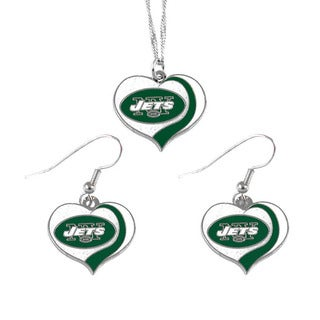 NFL New York Jets Sports Team Logo  Glitter Heart Necklace and Earring Set Charm Gift
