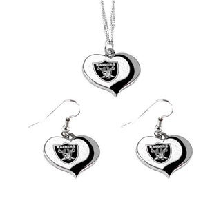 NFL Oakland Raiders Sports Team Logo  Glitter Heart Necklace and Earring Set Charm Gift