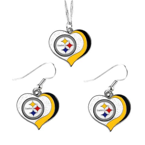 NFL Pittsburgh Steelers Sports Team Logo Glitter Heart Necklace and Earring Set Charm Gift