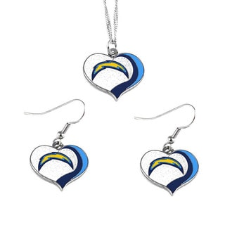 NFL San Diego Chargers Sports Team Logo Glitter Heart Necklace and Earring Set Charm Gift