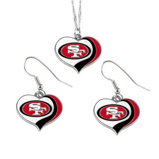 NFL San Francisco 49ers Sports Team Logo Glitter Heart Necklace and Earring Set Charm Gift
