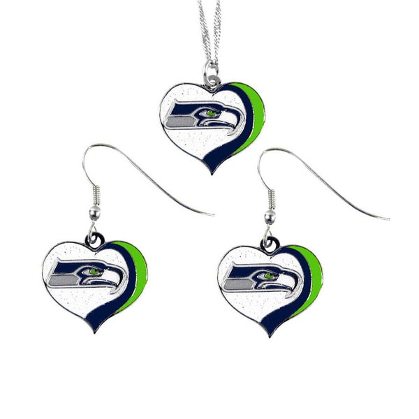 NFL Seattle Seahawks Sports Team Logo Glitter Heart Necklace and Earring  Set Charm Gift