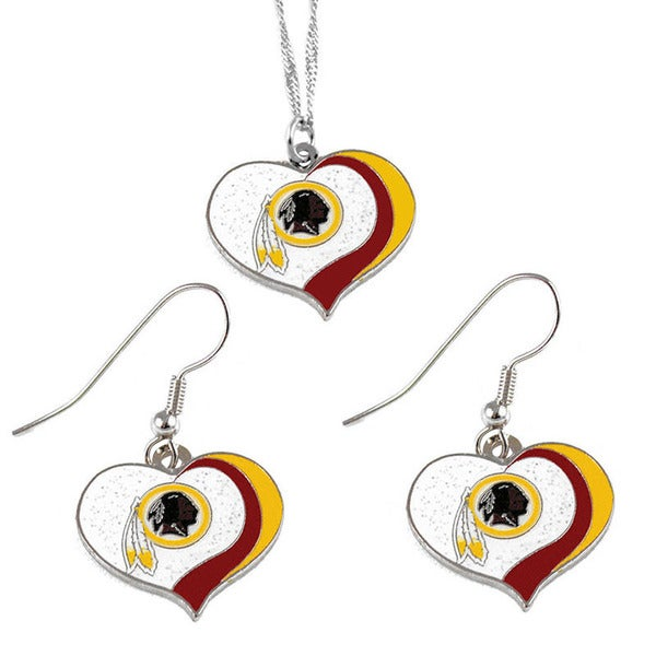 NFL Washington Redskins Sports Team Logo Glitter Heart Necklace and Earring Set Charm Gift